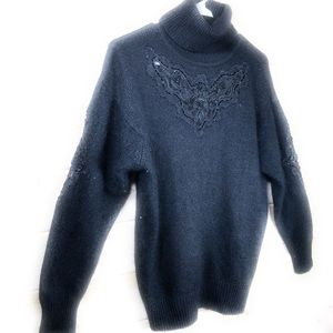 B. Diffusion Sweaters - B. Diffusion Silk Angora Blend Beaded Sweater